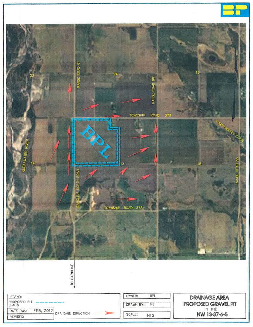 Proposed gravel pit mine location