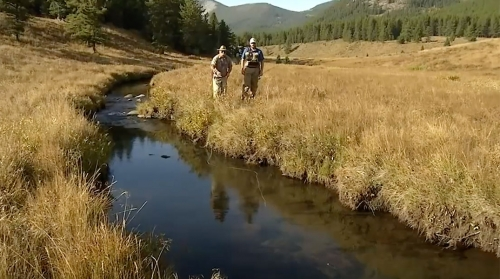 Keeping low on the approach is a key factor in small stream fishing.