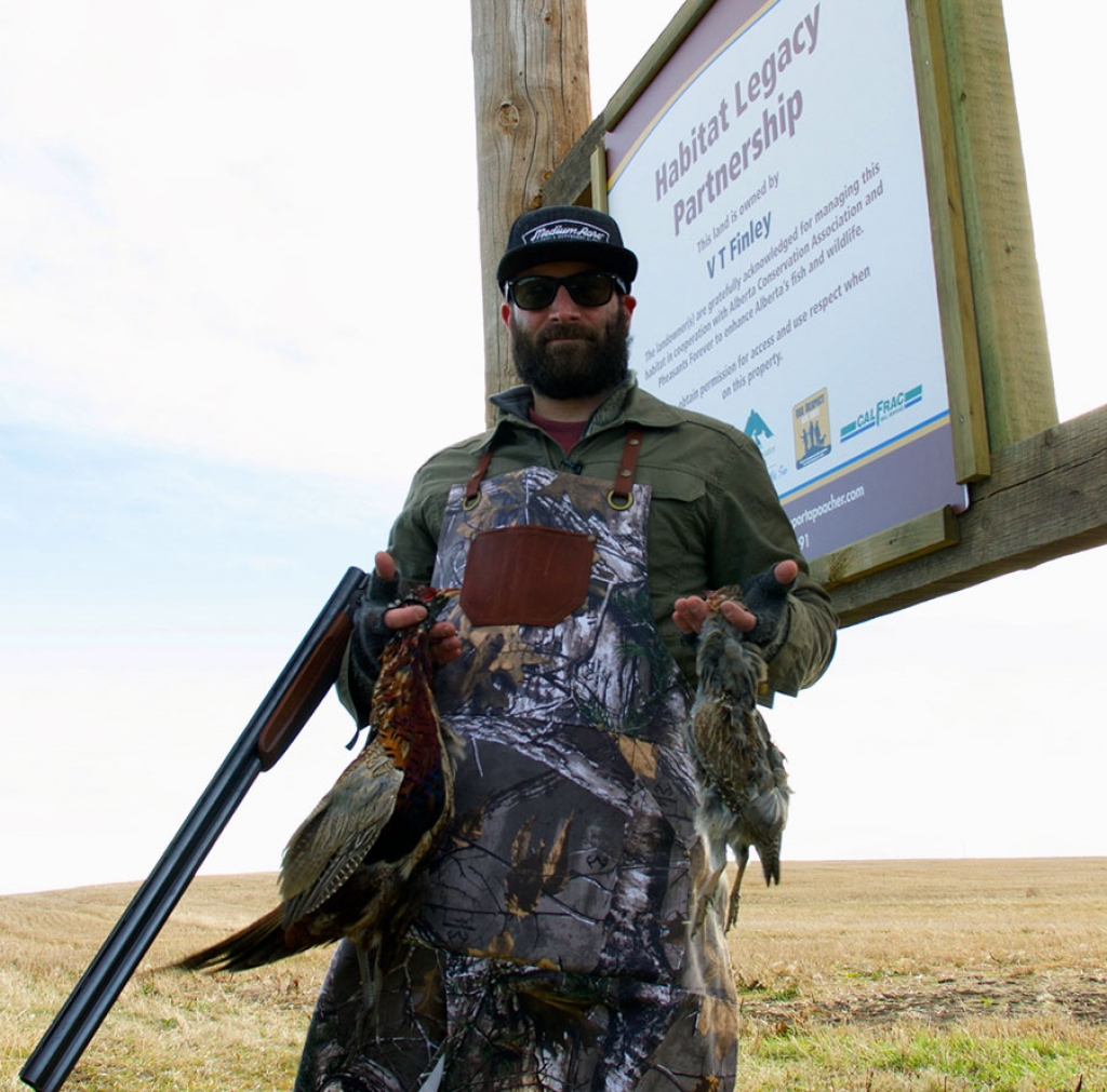 Chef Cam Dobranski on the VT Finley Habitat Legacy Partnership land near Taber, AB