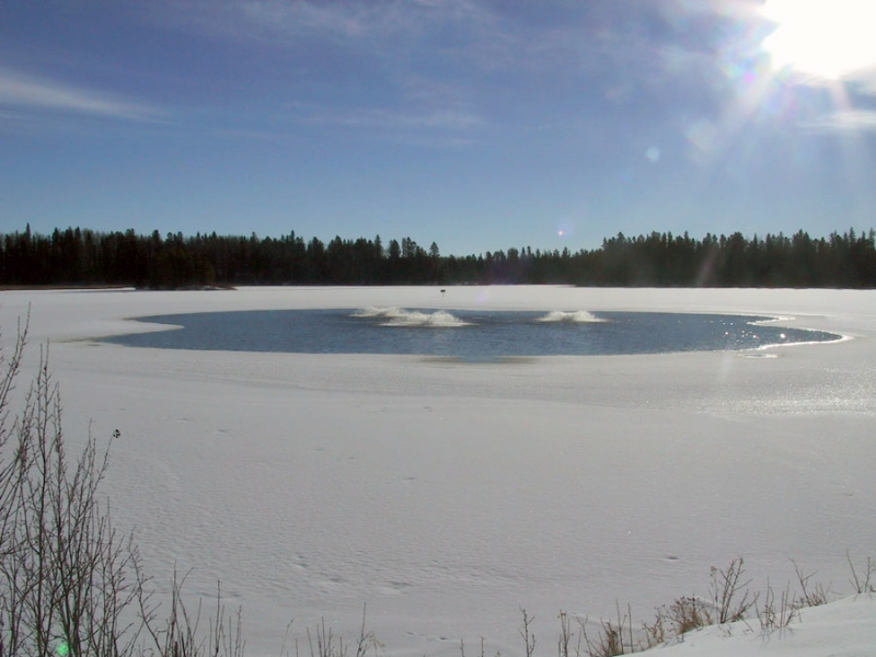 Winter aeration project creates thin ice and open water conditions